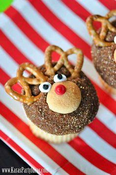 CUTE Reindeer cupcakes! Christmas Holiday Party via Kara's Party Ideas ~ Plus Free Printables!