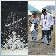 Nigerian Women VIP Celebrants George Wrapper in a unique color of Black/white. All over hand stoned Supper quality Silk George for that special occasion. Sold as + matching net blouse African Bridal Dress, African Wedding Attire, African Lace Dresses, African Dresses For Women, Traditional Wedding Attire, Traditional Outfits, Igbo Bride, Nigerian Outfits, Igbo Wedding