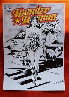 Wonder Woman Original Series Line Art Print on Paper A4 200 gr. Favini Lino Goffrato Naturale di AMCArtimagination su Etsy