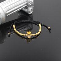 Anil arjandas Micro Pave Zircon Couronne Impériale Perles MACRAME bracalet Hommes Femmes