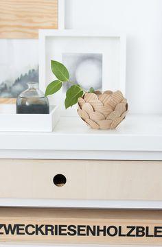 DIY Scalloped Candle Holder / Votive - DIY Rundvase mit selbstklebenden Holzfurnier
