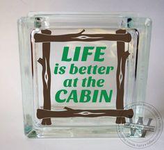 vinyl lettering glass block decal cabin