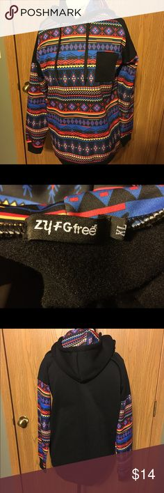 ZY FG free XL Hoodie Multi-Colored Tribal Design The hoodie is in excellent slightly worn condition. It does not have any tears, punctures, rips, or stains. There is no loose stitching. Zy FG free Tops Sweatshirts & Hoodies