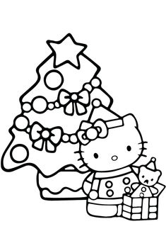 Hello Kitty Christmas Gift Coloring Pages Hello Kitty Colouring Pages, Angel Coloring Pages, Santa Coloring Pages, Easy Coloring Pages, Cat Coloring Page, Adult Coloring, Coloring Books, Hello Kitty Christmas Tree, Christmas Cats