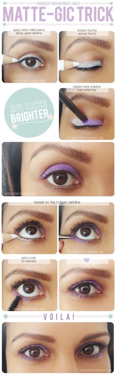 Matte-Gic Trick - For a chic runway-inspired matte eye shadow look, use a highlighter pencil as an eyelid primer!