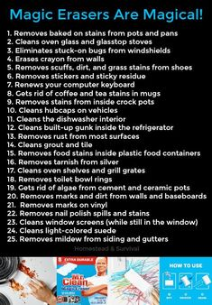 Magic Eraser uses Diy Home Cleaning, Homemade Cleaning Products, Household Cleaning Tips, Oven Cleaning, Cleaning Checklist, Cleaning Recipes, House Cleaning Tips, Natural Cleaning Products, Cleaning Hacks