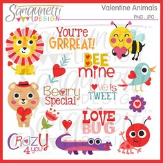 Valentine Animals Word Art Clipart Sentiments by SanqunettiDesigns