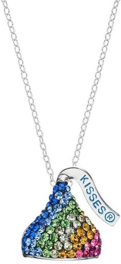 Show off your love of the iconic Hershey s kiss with this sterling silver  pendant necklace. A sparkling rainbow of crystals lends a standout  appearance to ... 4adc9b44ad17