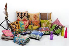 Set-of-10-Pillow-Cover-Throw-Kantha-Cushion-Indian-Pillows-Gypsy-Pillow-Boho-16