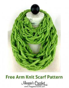 Arm Knit Scarf using  Hometown USA yarn - Maggie's Crochet Blog