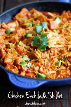 Chicken Enchilada Skillet - An easy, no-fuss, 30 min cheesy skillet dish that the whole family will love!