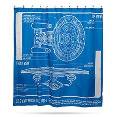 Star Trek: TNG Enterprise Blueprint Shower Curtain | ThinkGeek