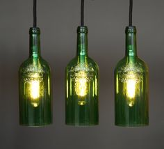 Handmade bottle lamps - the lamps are not off the shelf but genuinely unique  The atmosphere of a room is largely determined by the shape of the lamps and the quality of light. The lovingly handmade pedant lamps of Uniikat.de you can put your favorite place in the right light. Creative, original, comfortable, versatile - this allows our bottle lamps describe adequately. Each object is unique in shape and glass - handmade flat.  * This hanging lamp, made of three identical bottles of wine, is…