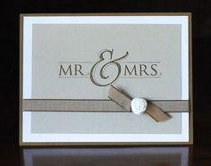 Mr. & Mrs. versatile wedding card - handmade, blank inside