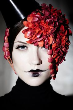 goth. red flowers. black lips