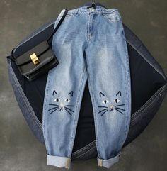 Cute cat printing jeans