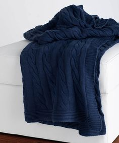 Look what I found on #zulily! Navy Cable-Knit Throw Blanket #zulilyfinds