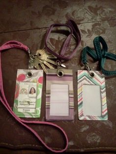 Homemade badge holders from Thirty-One fabric swatches