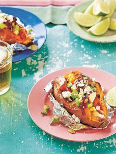 Jamie's Baked Sweet Potatoes, Avocado & Feta