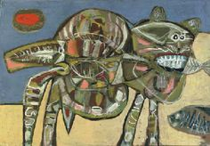 Lucebert (DUTCH, 1924-1994) | Cat with fish | Impressionist & Modern Art Auction | Christie's