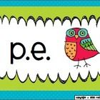 These brightly colored owl-themed specials posters can be printed, laminated, and posted in your classroom to remind students of their specials schedule