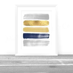 Abstract Art Print, Paint Strokes, Gold Navy Gray Abstract Painting, Abstract Wall Art Digital Art, Boys Nursery Art Print, Office Decor Art by MintandCompany on Etsy