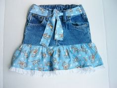 Upcycled Jean Skirt Cotton Monkey Print Child Size 5 diy http://top-golf-courses.info/green.php