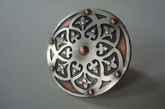 Ornate Shield  Riveted Sterling Silver and Copper Ring by Kerdan, $200.00