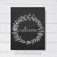 1. Welcome Sign Chalkboard Art Print , Home Decor, Wall Art