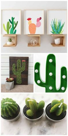 diy cactus crafts 19 cute cactus decor ideas for your home or room. Whether you want cactus room decor, DIY craft kits, or cactus wall art, you'll love these ideas. Deco Cactus, Cactus Decor, Cactus Cactus, Cactus Diys, Cactus Light, Indoor Cactus, Cactus Craft, Cactus Wall Art, Easy Diy Crafts