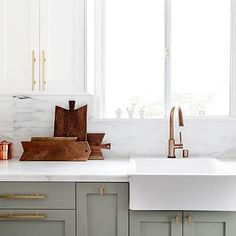 Ikea Domsjo Sink, Transitional, kitchen, Farrow and Ball Wimborne White, Smitten Studio