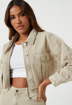Missguided - Sand Co Ord Cropped Raw Hem Denim Jacket Cropped Denim Jacket Outfit, Jean Jacket Outfits, Denim Outfit, Courdoroy Jacket, Beige Jeans, Coats For Women, Raw Edge, Jordan Outfits, Women's Jackets