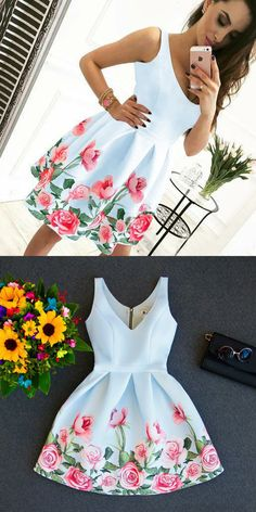A-Line V-Neck Dresses,Short Prom Dresses,White Floral Homecoming Dresses,Simple Party Dresses