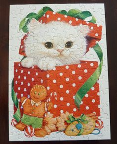 Vintage Springbok Jigsaw Puzzle for Children - Have a Cuddly Christmas - Made in USA for Hallmark Cards - Complete - 100 pcs - White Cat