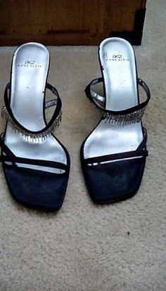 dc21ccd720c3 Anne Klein AK2 Black Leather Strappy Rhinestone Fringe Sandals Womens SZ 7M   fashion  clothing