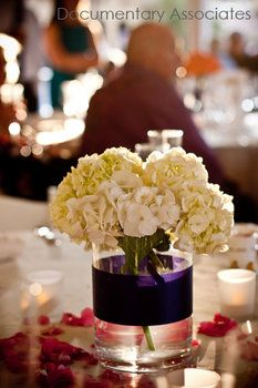 Simple and elegant!  Wedding, Flowers, Reception, White, Centerpiece, Purple, Inspiration, Board