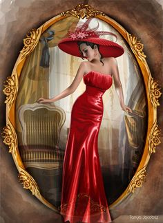 lady in red hat painting ~ lady in red ; lady in red quotes ; lady in red photography ; lady in red painting ; lady in red dress ; lady in red fern ; lady in red cocktail ; lady in red hat painting Vintage Images, Vintage Art, Vintage Ladies, Art Rouge, Moda Art Deco, Red Hat Ladies, Art Deco Stil, Art Nouveau Design, Red Art