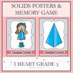 Solids Memory Game and Posters Library Activities, Classroom Activities, Math Resources, Creative Teaching, Teaching Math, Math Vocabulary, Math Math, Math Fractions, Third Grade Math