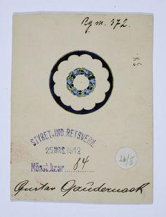 Gustav Gaudernack design for silver guilloche brooch with forget-me-not motif. Design protection 1912. Own Workshop. Tegning @ DigitaltMuseum.no