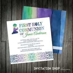 Watercolor Praying Boy Communion Invitations - First Holy Communion Invitation for Boy with a praying boy