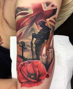 Poppy Tattoo Sleeve, Best Sleeve Tattoos, Tattoo Sleeve Designs, Army Tattoos, Military Tattoos, Top Tattoos, Remembrance Tattoos, Memorial Tattoos, Bodysuit Tattoos