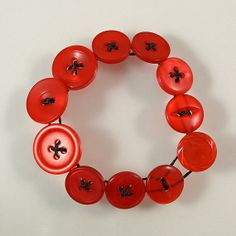 Red Button Bracelet by XOHandworks $10