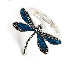 Silver tone blue glitter dragonfly stretch ring. One size fits most.