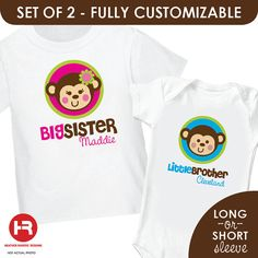 Silly Monkey Big Sister Shirt & Monkey by HeatherRogersDesigns, $32.50