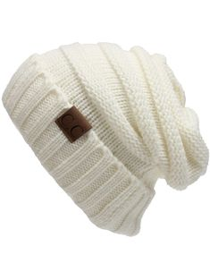 Outdoor CC Label Embellished Flanging Knitted Slouchy Beanie - WHITE