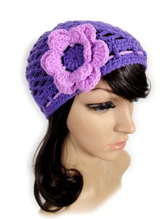 Crochet Net Hat. Purple or 23 Colors. Adjustable with by VividBear