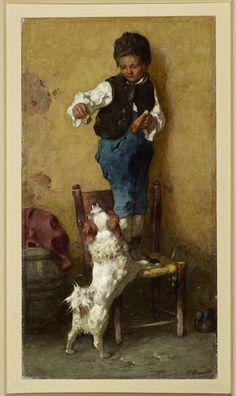 Otto Brandt: Junge mit Hund, um 1870/80. © Staatliche Museen zu Berlin, Kupferstichkabinett / Foto: Volker-H. Schneider