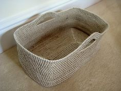 Crochet over rope basket. works up fast with chunky yarn and big crochet hook. After ran out of rope, did round of 2 stitches in every stitch and one last round every stitch for a frilly edge. Crochet Rope, Knit Or Crochet, Learn To Crochet, Crochet Crafts, Crochet Projects, Rope Basket, Basket Weaving, Crochet Basket Pattern, Crochet Patterns