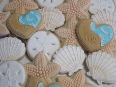 Beach Wedding Cookies, Seaside Ocean Wedding, Bridal Shower Birthday Party Starfish Cookie Favors Seashore Sand Dollars Seashell, Custom by MartaIngros on Etsy https://www.etsy.com/listing/267168588/beach-wedding-cookies-seaside-ocean