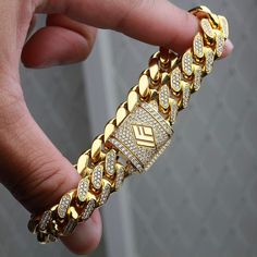 14kt Solid Fully Iced Out Cuban Bracelets available now onwww.IFANDCO.com. #CubanLink #CustomJewelry #IFANDCO